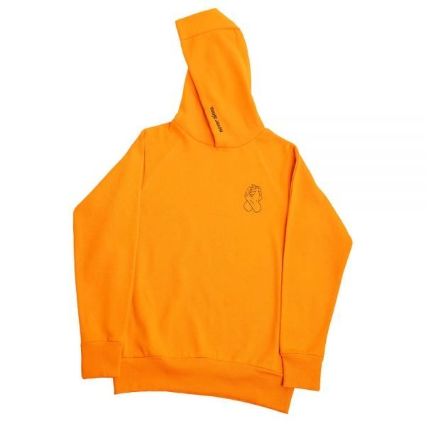 never alone hoodie 1x1 background orange