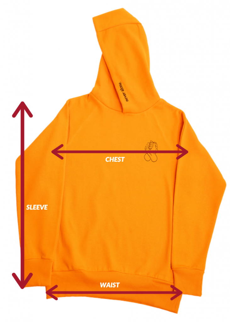 never alone sizing chart hoodie